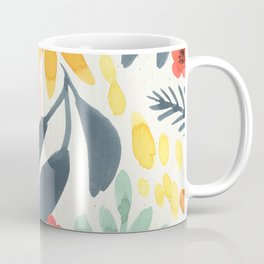 Colorful Mystical Watercolor Floral Plant Pattern Pink Orange Flowers Mint Green Navy Blue Leaves Coffee Mug