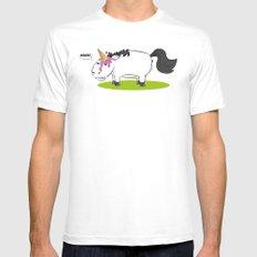 Damn! Bob, the Unlucky Horse! White MEDIUM Mens Fitted Tee