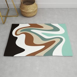 Liquid Mountain Abstract // Mint Green, Evergreen, Khaki Tan, Burnt Sienna, Black and White Rug