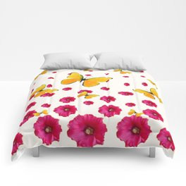 PINK HOLLYHOCKS & YELLOW BUTTERFLY LOVERS ART Comforters