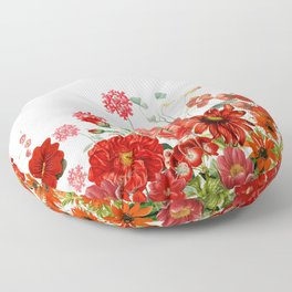 Vintage & Shabby Chic - Red Summer Flower Garden Floor Pillow