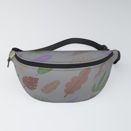 Modern abstract lavender green brown leaves pattern Fanny Pack