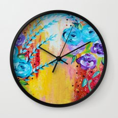 MORE IS MORE - Gorgeous Floral Abstract Acrylic Bouquet Colorful Ikat Roses Summer Flowers Painting Wall Clock