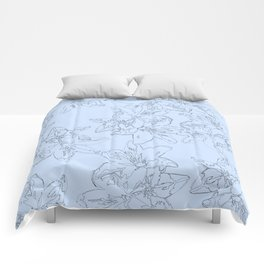 blue line art flower pattern Comforters