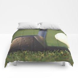Golf Club and Ball on Tee Comforters