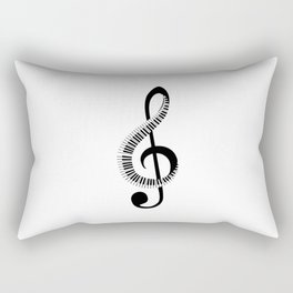 Treble clef sign with piano keyboard Rectangular Pillow