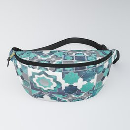 Spanish moroccan tiles inspiration // turquoise green silver lines Fanny Pack