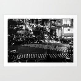 Shibuyacrossing at night - monochrome Art Print