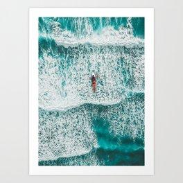 Girl Surfing Art Print