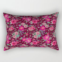Burgundy Floral Thanksgiving , fall & winter floral in watercolor Rectangular Pillow