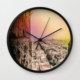 Colorful Rainbow View from Sagrada Familia over the Old City of Barcelona Wall Clock