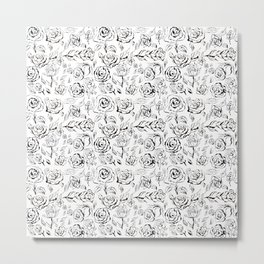 Black and white seamless pattern with black roses. Metal Print