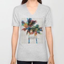 Colorful Palm Trees - Returning Home - By Sharon Cummings Unisex V-Neck