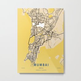 Mumbai Yellow City Map Metal Print