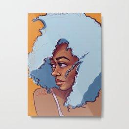 Blue Haired Bombshell Metal Print