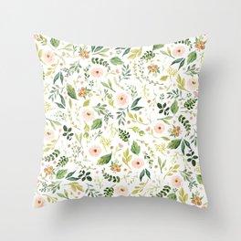 Botanical Spring Flowers Throw Pillow