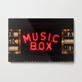 The Music Box Neon Sign Chicago Illinois Arthouse Theatre Vintage Cinema Movie House Theater Metal Print