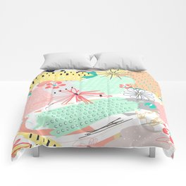 Modern creative abstract floral paint Comforters