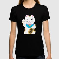 Maneki-neko good luck cat pattern MEDIUM Black Womens Fitted Tee