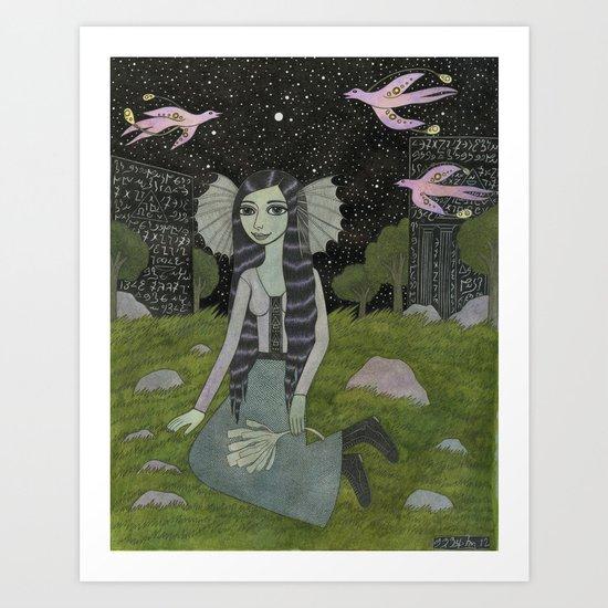 Girl on the Edge of Town Art Print