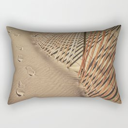 Footprints on the Beach by the Sand Fence Rectangular Pillow