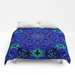 Bright Blue Kaleidoscope Comforters