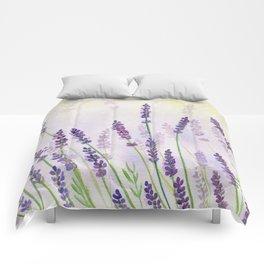 Lavender Flowers Watercolor Comforters
