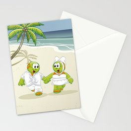 Papi and Pupi on the beach Stationery Cards
