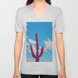 Pink Saguaro Against Cloudy Blue Sky in Arizona Unisex V-Neck