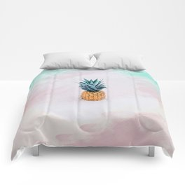 Pineapple on the beach Comforters