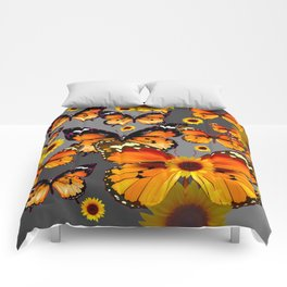 YELLOW & BROWN BUTTERFLIES  SUNFLOWER GREY ART Comforters