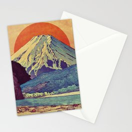 The Red Sunrise at Dayai Shore Stationery Cards