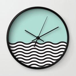 Waves of Green Wall Clock