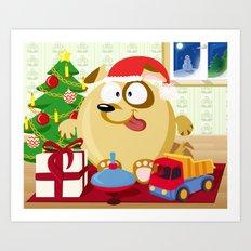 Christmas dog in December month series Art Print