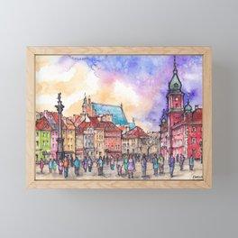 Warsaw ink and watercolor illustration Framed Mini Art Print