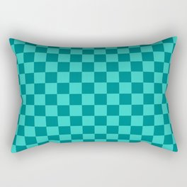 Teal and Turquoise Checkerboard Rectangular Pillow