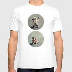 Cats & Dogs White Mens Fitted Tee MEDIUM