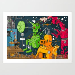 Robot Rampage Art Print