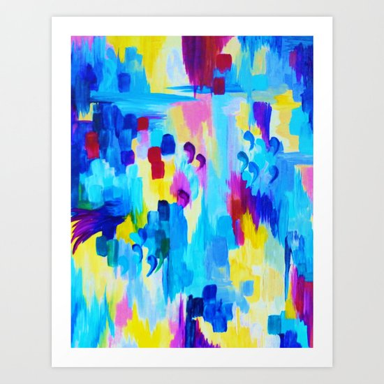 DONT QUOTE ME, Revisited - Bold Colorful Blue Pink Abstract Acrylic Painting Gift Art Home Decor  Art Print