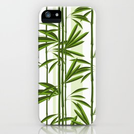 Green bamboo tree shoots pattern iPhone Case