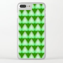 Pattern of white hearts and greens on a lime background. Clear iPhone Case