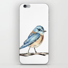 Bluebirds watercolour and ink iPhone Skin