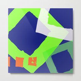 Abstract Lime Green Navy Blue Geometric Squares Metal Print