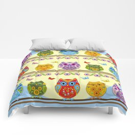 Chilling Summer owls Comforters