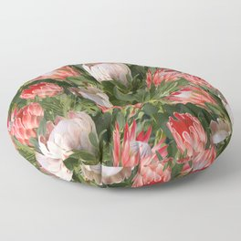 Lush Protea Botanical with Olive Green Leaves Floor Pillow