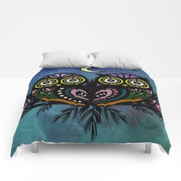 A Perfect Pair Of Midnight Moonlit Owls Comforters
