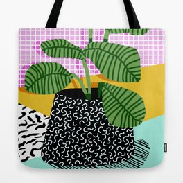 Decent - memphis retro neon throwback illustration pop art houseplant socal urban kids trendy art Tote Bag