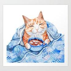 Happy Cat Drinking Hot Chocolate Art Print