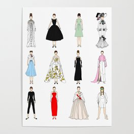 Outfits of Audrey Fashion (White) Poster