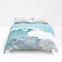 Wave Surfer Turquoise Comforters